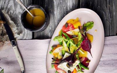 Salade de betteraves rôties et de haricots verts